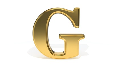 G gold colored alphabet, 3d rendering