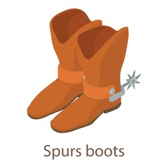 Spurs boots icon, isometric 3d style
