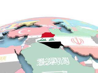 Flag of Iraq on bright globe