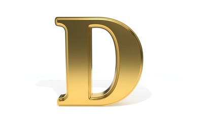 D gold colored alphabet, 3d rendering
