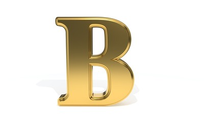 B gold colored alphabet, 3d rendering
