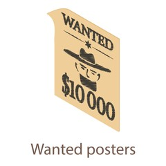 Wanted posters icon, isometric 3d style
