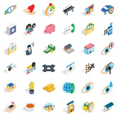 Medicine icons set, isometric style