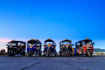 "Thailand native taxi call ""tuk-tuk"", Three wheeler, silhouette, Blue sky sunset"