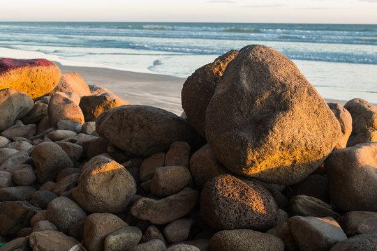 Piled rocks in a local beach in El Salvador