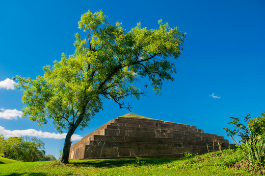View of Tazumal, the largest Mayan Pyramid in Central America