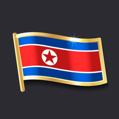 flag of DPRK in the form of badge, flat image