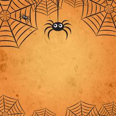 Orange Halloween Spider Web Square Background 1