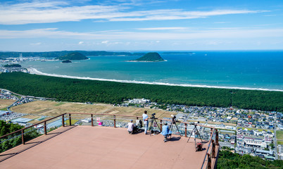 view from the mount kagami observatory above nijinomatsubara pine forest. Karatsu, Japan