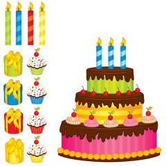 Vector Birthday Cake, Candles, Cupcakes and Gift Boxes