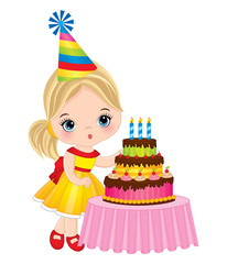 Vector Cute Little Girl Blowing out Candles on Birthday Cake