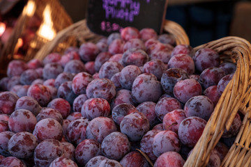 Red purple pluots also called plumbs in a basket sold at a farmers market