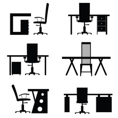 chair office with desk empty set illustration
