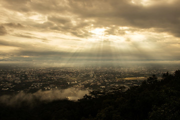 Chiang mai city at view point, Thailand. Morning in Chiang mai.
