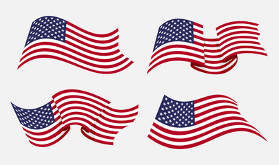 Flowing flat american flag vector illustration. Flying waving usa flags isolated on white background