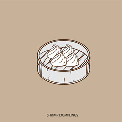 chinese food SHRIMP DUMPLINGS object hand drawing