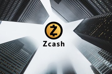 """Concept of  """"Zcash"""",  a Cryptocurrency secured chain , Digital money"""