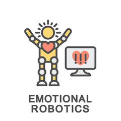 Icon emotional robotics. The robot recognizes and simulates human emotions. The thin contour lines with color fills.