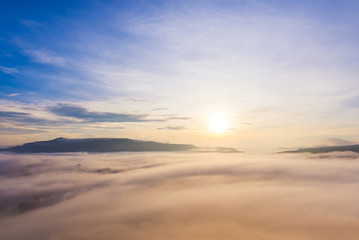 Aerial view of Panorama landscape with mountain view and morning fog
