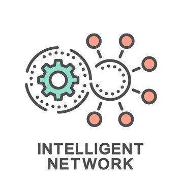 Icon intelligent network. The intelligent platform connects to network switches through the interface. The thin contour lines with color fills.