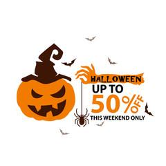 Halloween sale design template Vector illustration