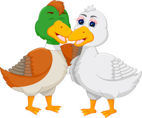 loving geese cartoon standing with hugging