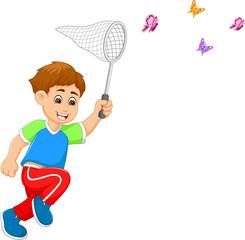 cute boy cartoon catching butterfly