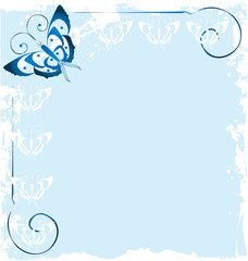 Tuinposter Vlinders in Grunge Frame of blue butterfly icon vector