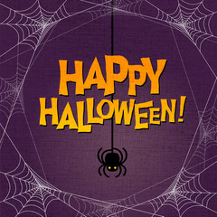 Happy Halloween with spider web border and dangling spider. For poster, web banners, cards, invitations.