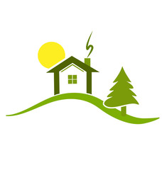 Green house on top of hill environment, icon logo vector