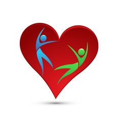 Loving heart, people falling in love, icon vector
