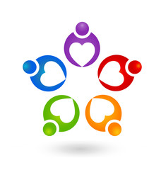 Teamwork helpful caring heart people abstract icon vector