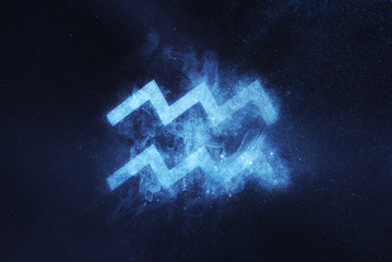 Aquarius Zodiac Sign. Abstract night sky background
