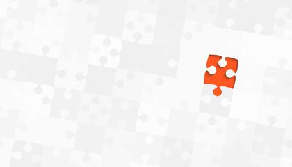 One Orange Piece Grey Puzzles - Vector Jigsaw