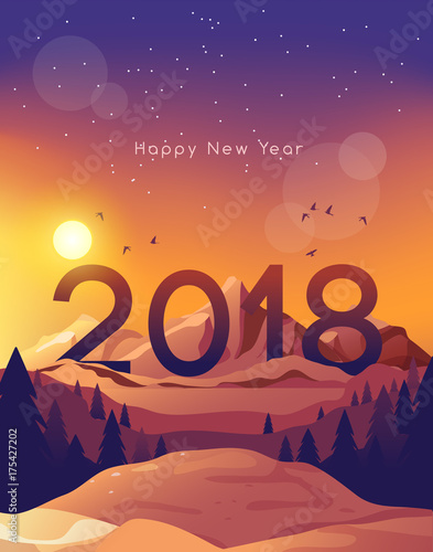 2018 happy new year card template with beautiful landscape background vector illustration