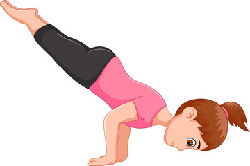 cool woman cartoon practicing yoga sport standing use two hand