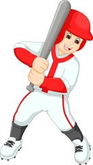 cool baseball player cartoon in action
