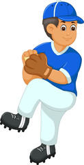 handsome baseball player cartoon in action