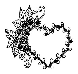 Decorative love frame composition with hearts, flowers, ornate elements in doodle style. Floral, ornate, decorative, tribal design elements. Black and white background. Zentangle coloring book page