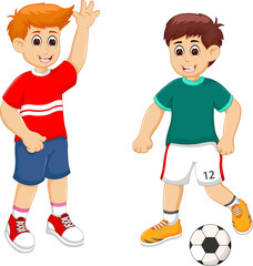 handsoome football player cartoon play with smile and happiness