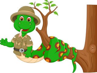cute snake cartoon twisted on tree with waving and smile