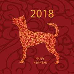 2018 Happy New Year greeting card. Dog stylized, hand drawn, pattern. Vector illustration of dog, symbol of 2018 on the Chinese calendar.