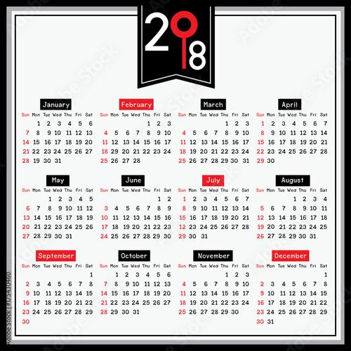 2018 twelve month calendar simple design with white background