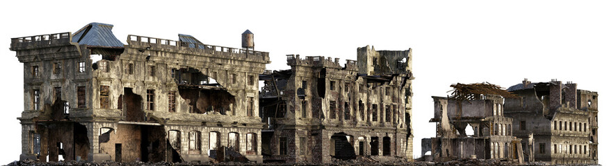Ruined Buildings Isolated On White 3D Illustration Wall mural