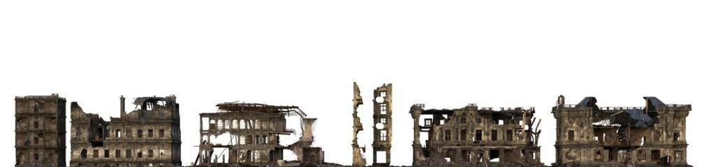 Ruined Buildings Isolated On White 3D Illustration Fototapete