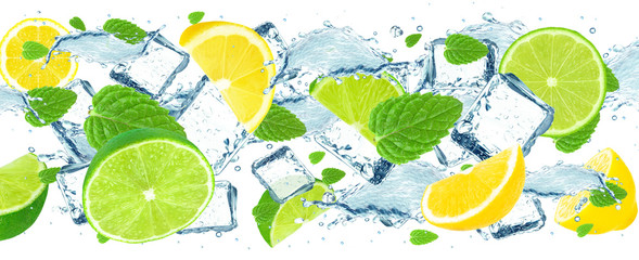 lime and lemon splash water and ice cubes isolated