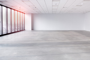 interior empty office room with white wallpaper without furniture in a new building.big space