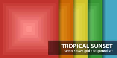 Square pattern set Tropical Sunset Vector seamless tile backgrounds