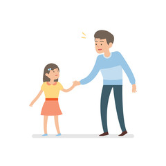 happy father and daughter holding hands while walking together, vector character illustration.