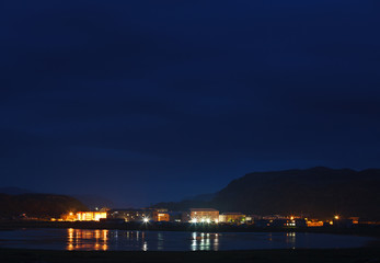 Night  view of the Arctic village of Teriberka, Kola Peninsula, Russia.